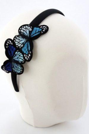 Opaska z motylami niebieska
