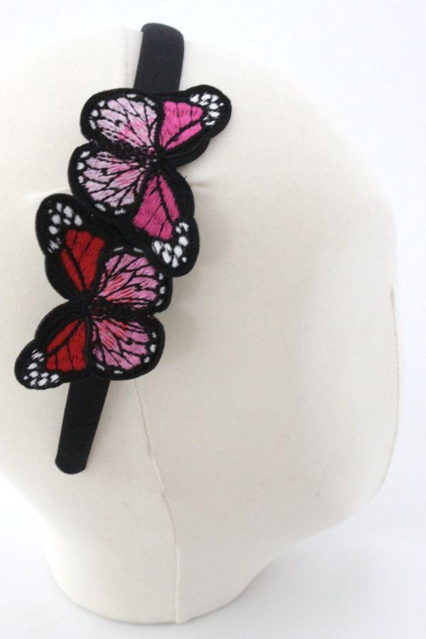 Opaska z motylami różowa