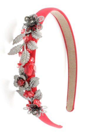 czerwona opaska z liśćmi