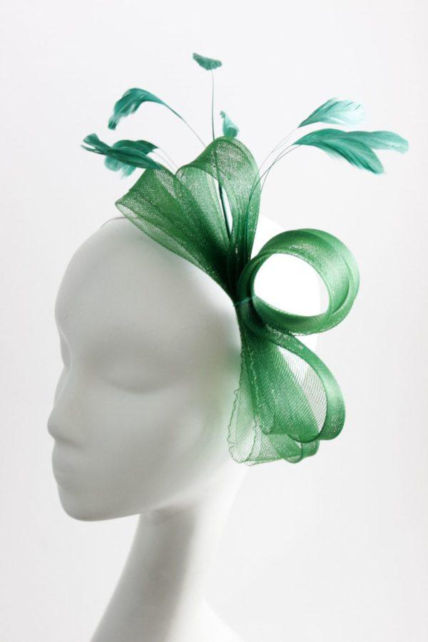 klasyczny zielony fascynator z krynoliny