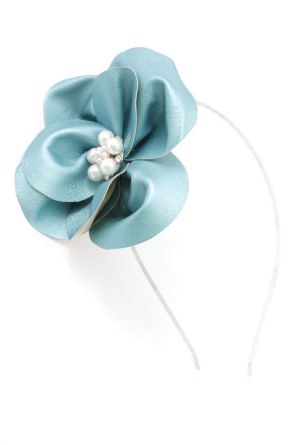 turkusowy kwiat na opasce