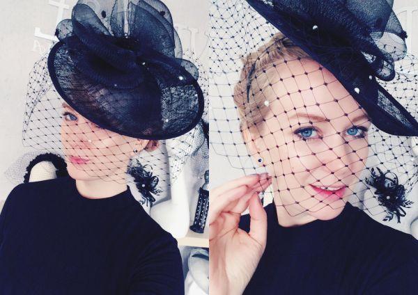 ozdoba do włosów duży kapelusz czarną woalką czarna woalka