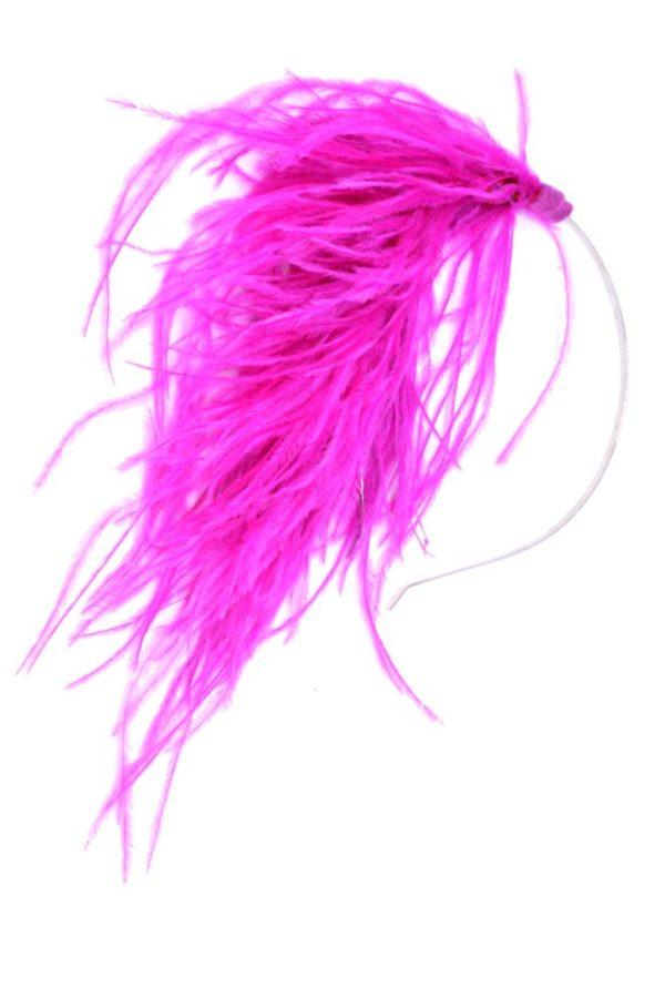 opaska z różowymi piórami