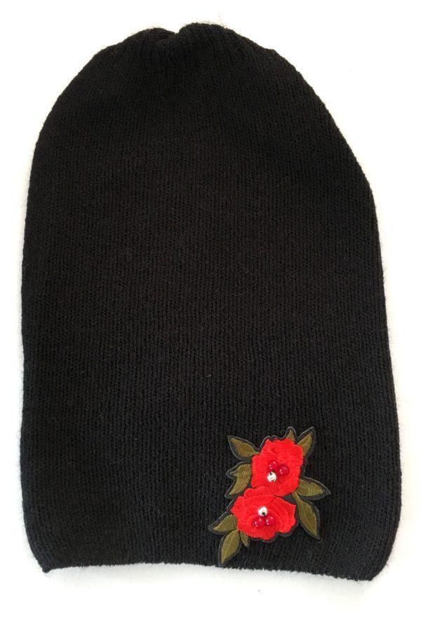 czapka czarna z haftem