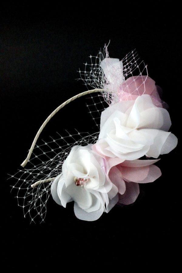 ozdoba dla dziewczynki z kwiatami i woalem