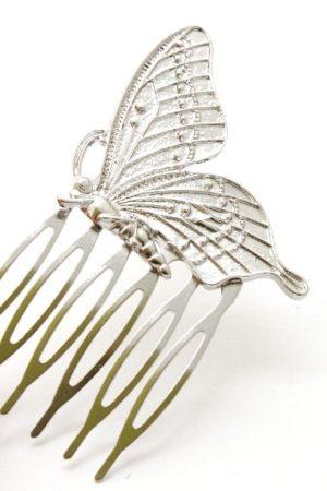 grzebyk z motylem srebrny