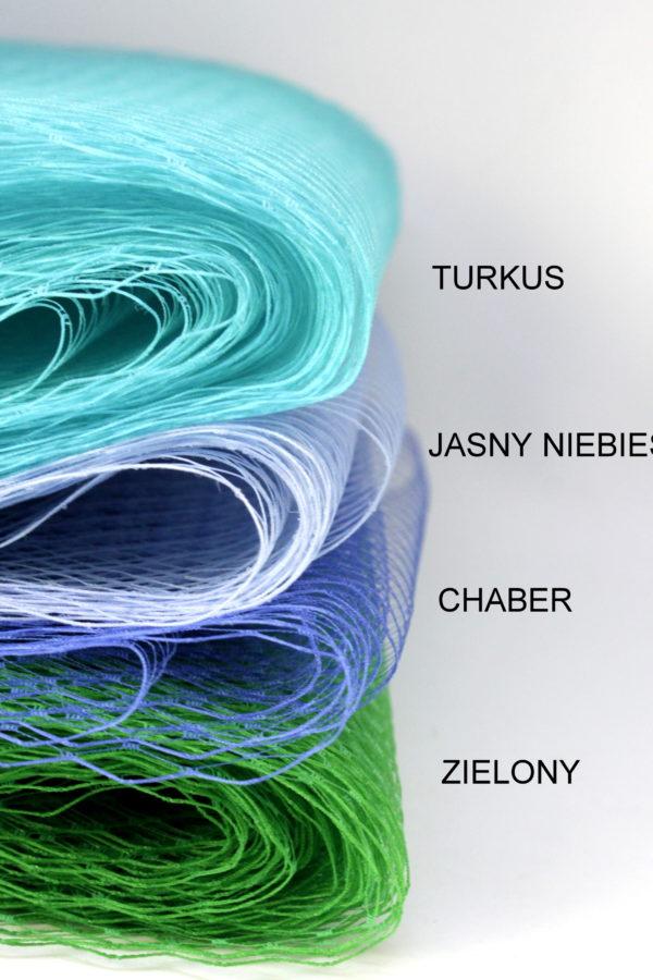 woalki do włosów zamiast welonu kolorowe w odcieniach niebieskiego i zielone