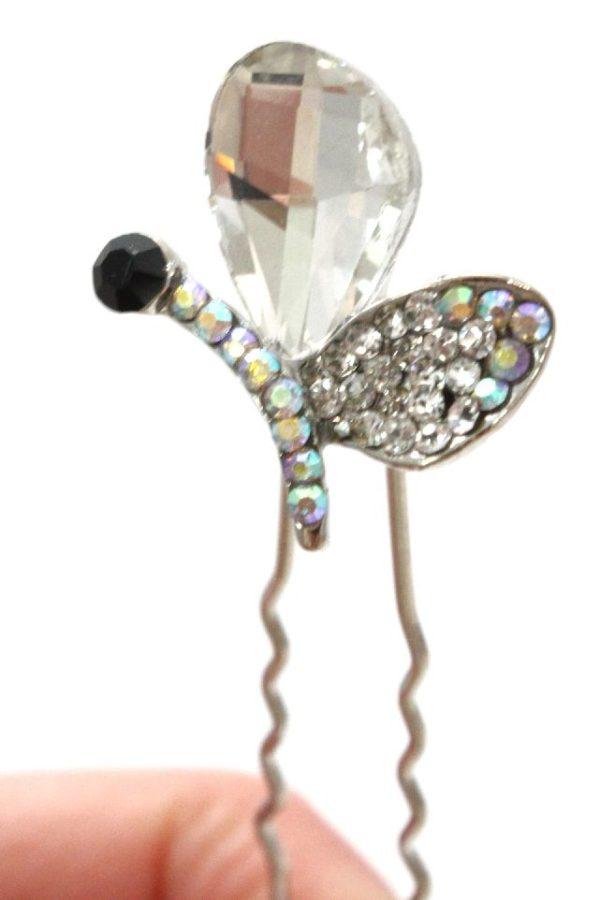 srebrna kokówka z cyrkoniowym motylem