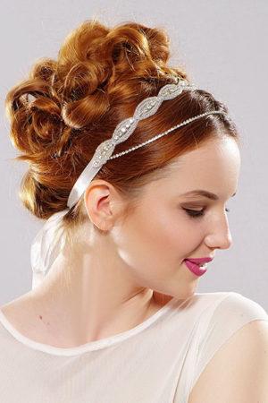romantyczna ozdoba do włosów z podwójną taśmą