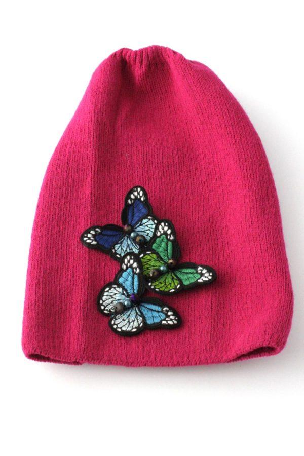 Czapka fuksjowa z motylami