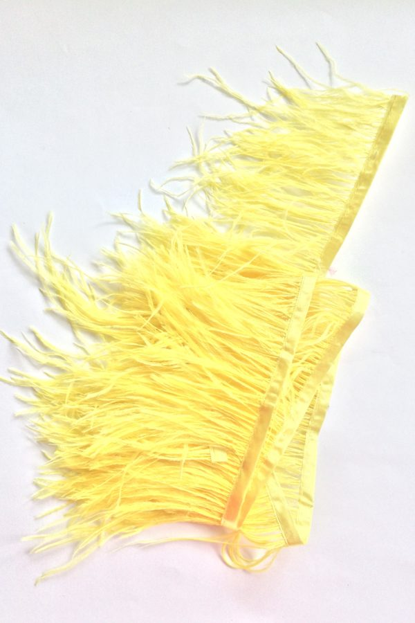 taśma piór stroik ozodba żółte piorka puch