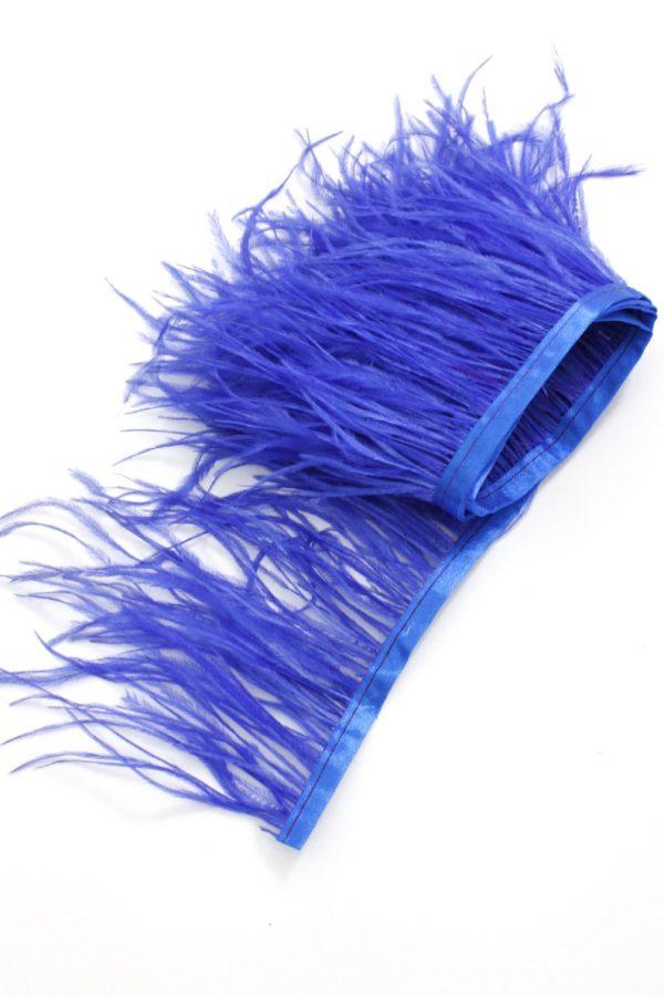pióra strusia na taśmie niebieskie puch