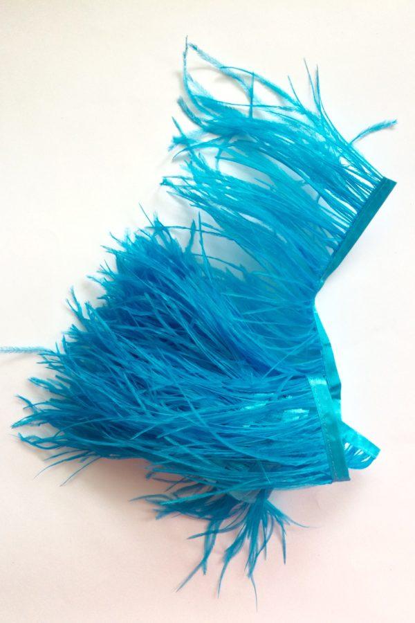 turkus strusie pióra taśma puch modnarskie