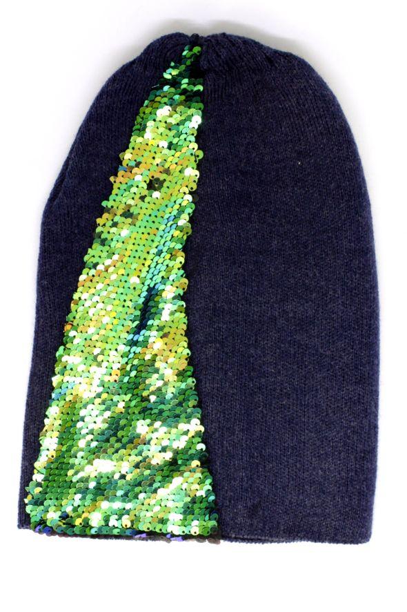 czapka granatowa z cekinami dwóstronne cekiny