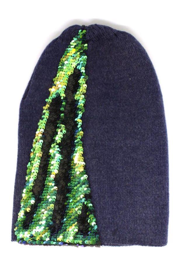 czapka granatowa z cekinami