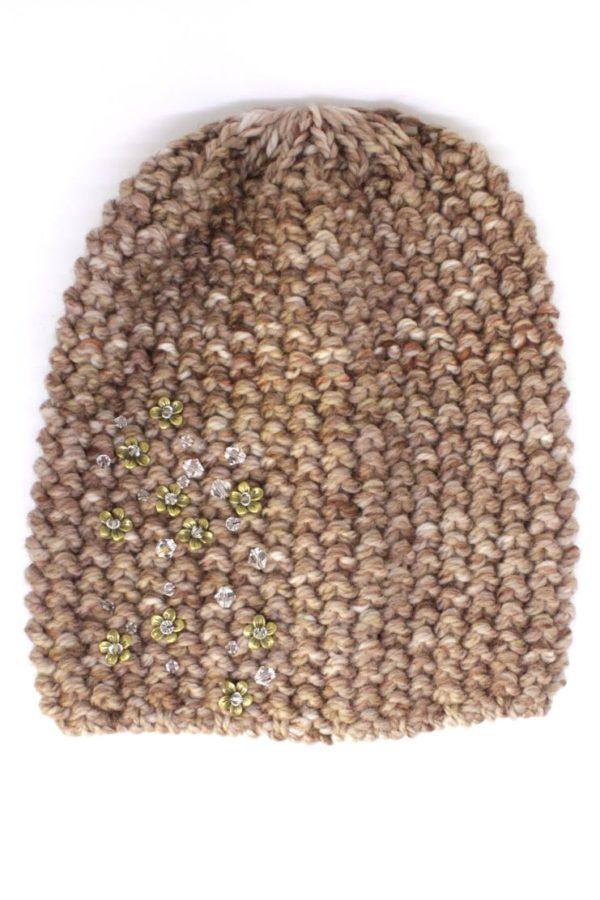 czapka brązowa melanż ze złotymi kwiatkami
