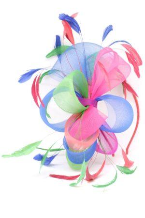 tęczowy fascynator kokarda stroik ozdoba multikolor RAINBOW