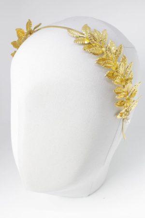 temida 1 tiara diadem na opasce ozodba złota liście metlowe plecionka