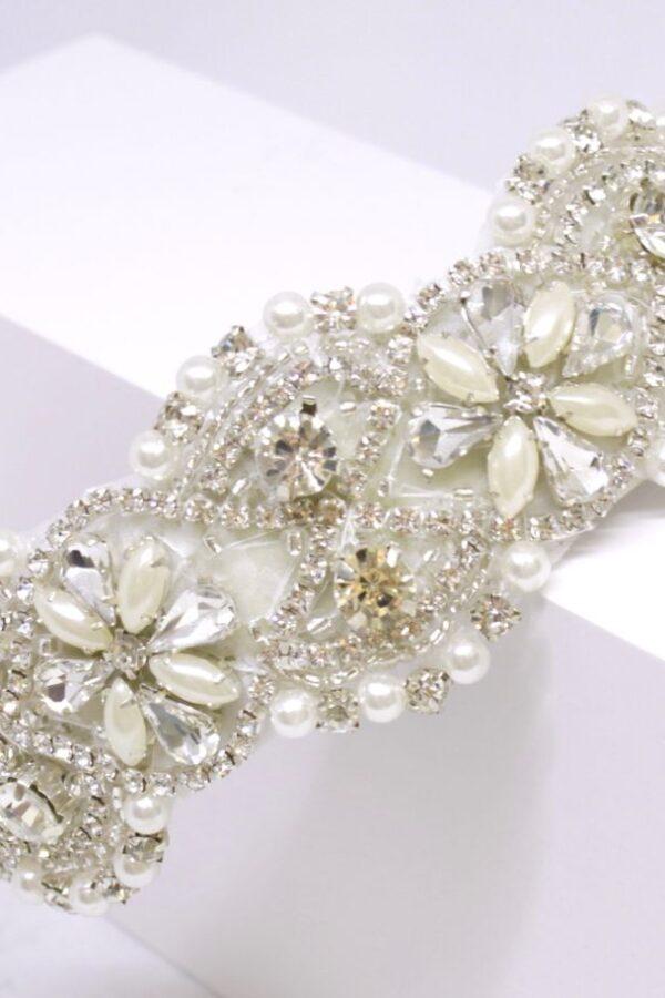 IRMALIN bogato wyszywana kryształkami opaska ślubna