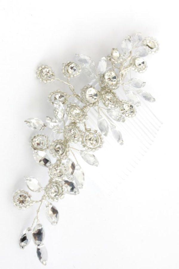 ślubny grzebyk z kryształkami Preciosa