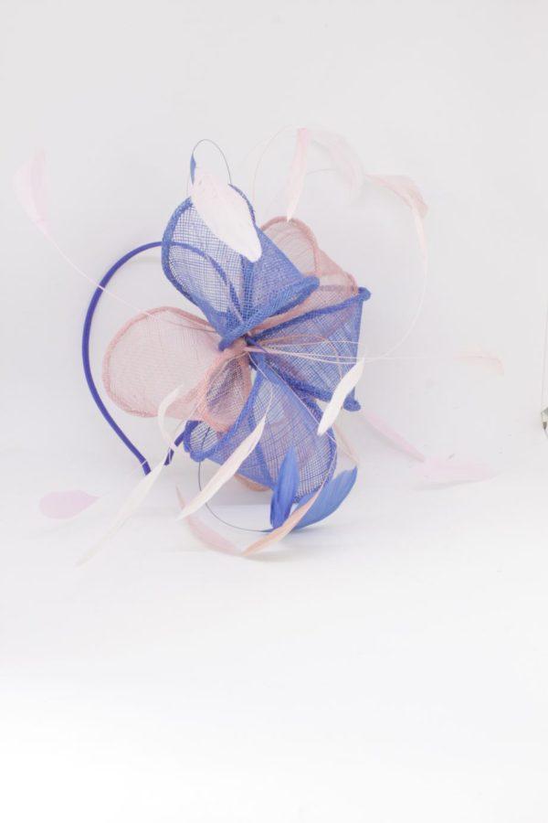 wielowymiarowy fascynator jasny róż i chaber