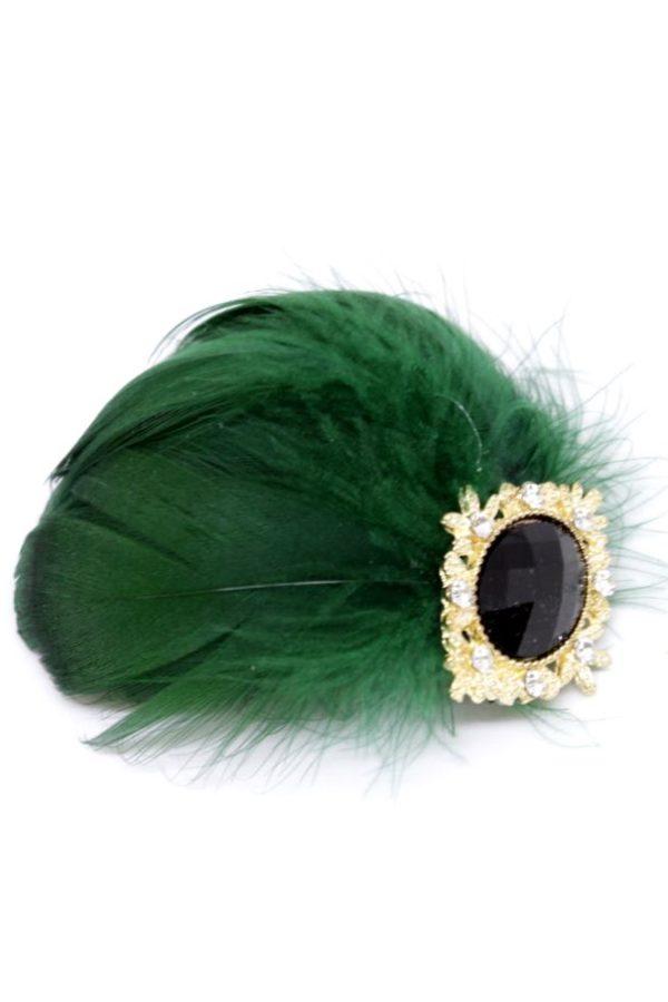 ROMA niewielka spinka z piórami i biżuteryjnym guzikiem