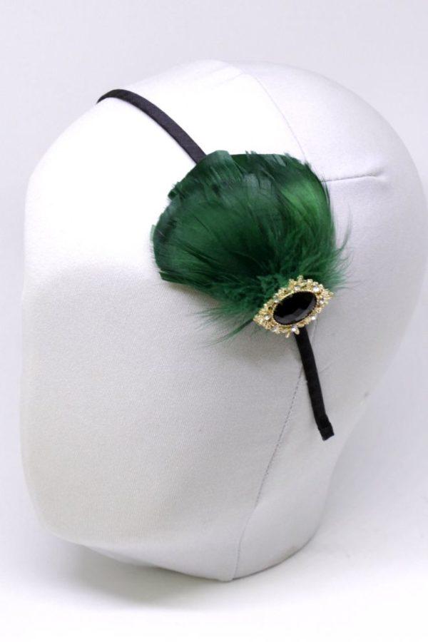 elegancka opaska w stylu retro z dodatkiem piór