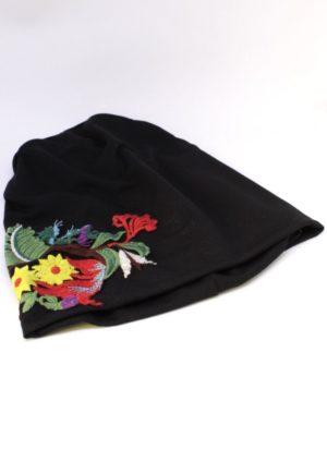 czapka dla biegaczek, czarna z haftem,