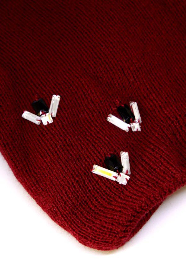 czapka bordowa z kryształkami