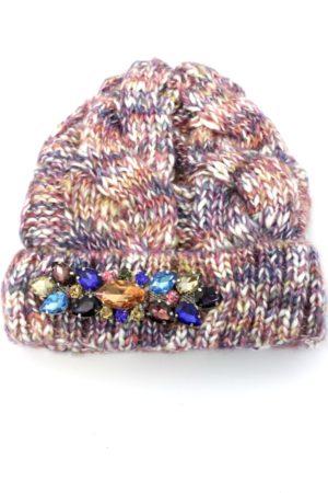 Damska czapka zimowa melanżowa z kryształkami