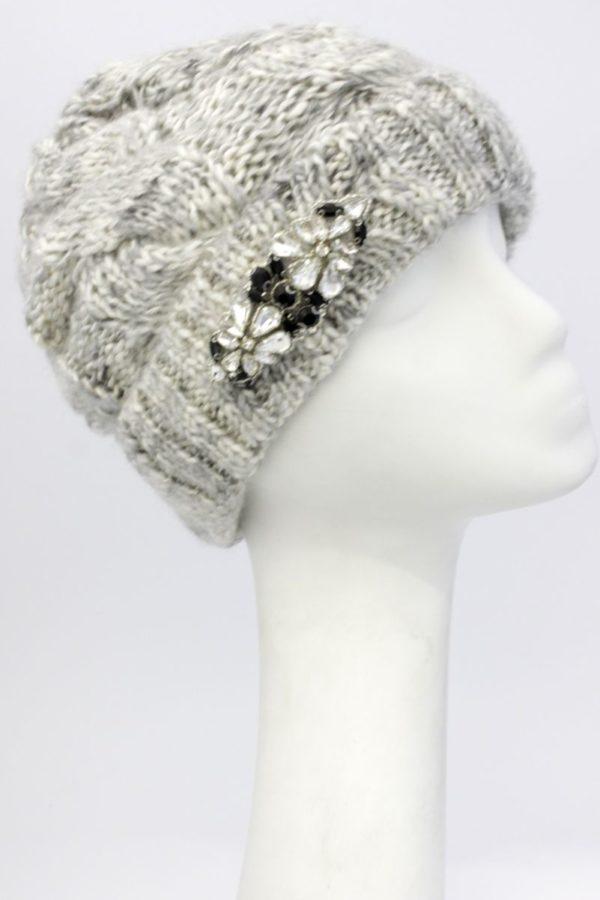 Zimowa czapka damska z kryształkami