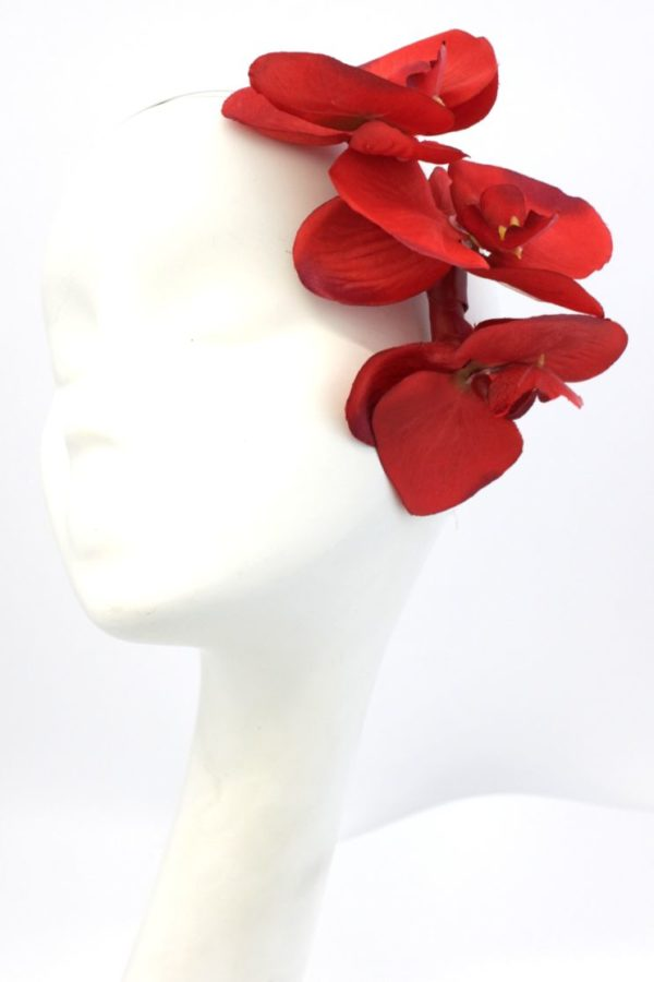 czerwone storczyki na opasce