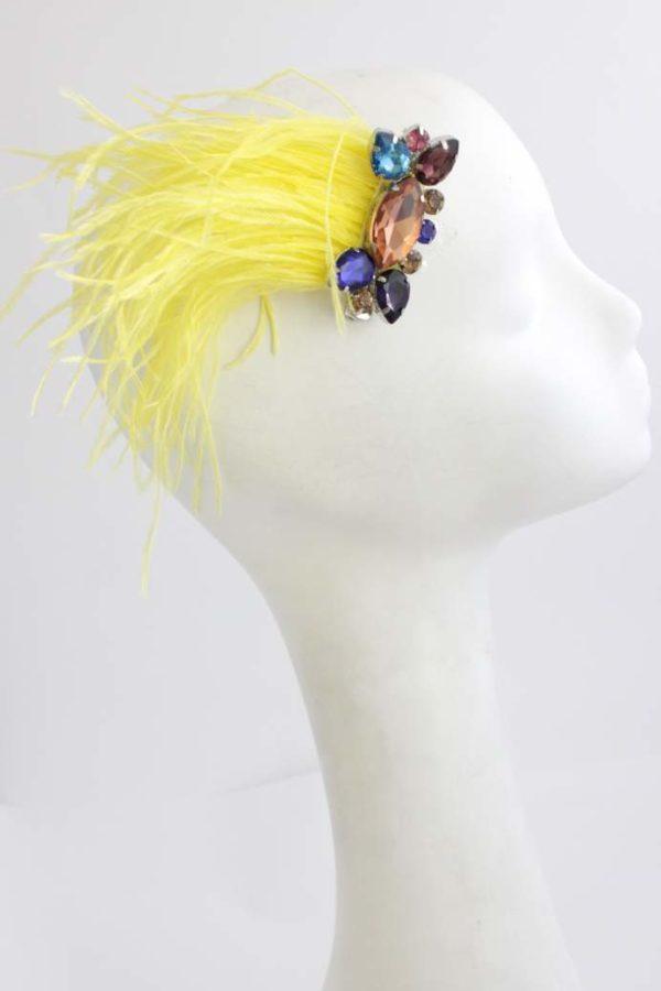spinka boho z pióropuszem żółtych piór