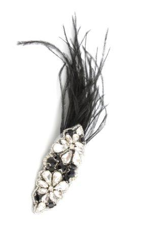 biżuteryjna spinka z delikatnymi piórkami