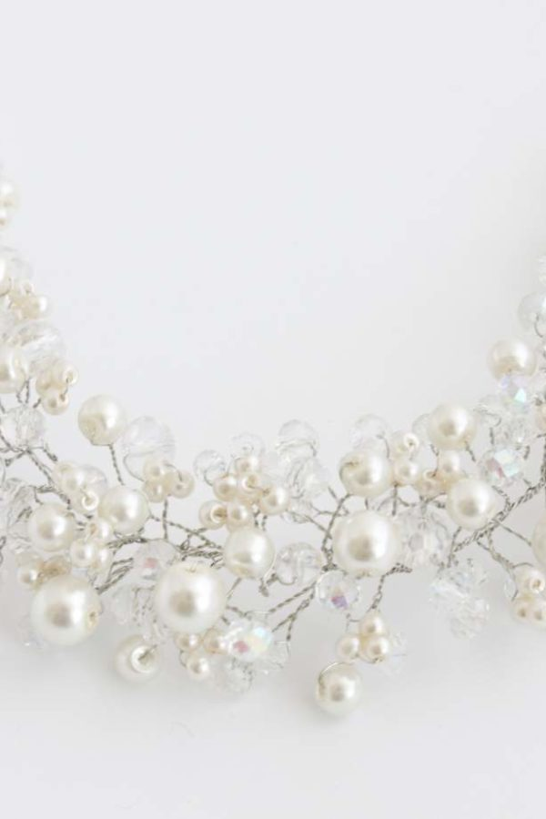 biżuteryjny wianek z perełek i kryształków do włosów ślubne boho