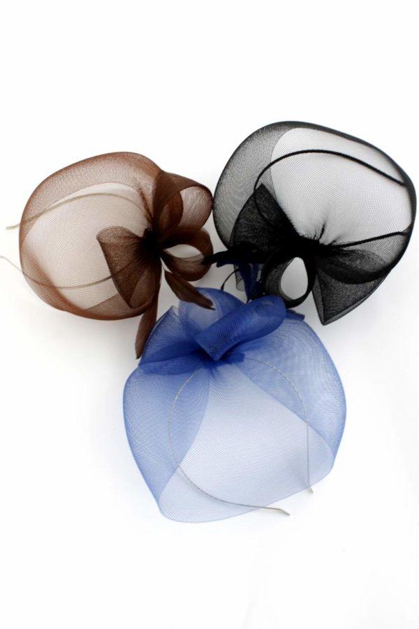 Stroik fascynator granatowy kopułka z piórkiem minimalistyczny