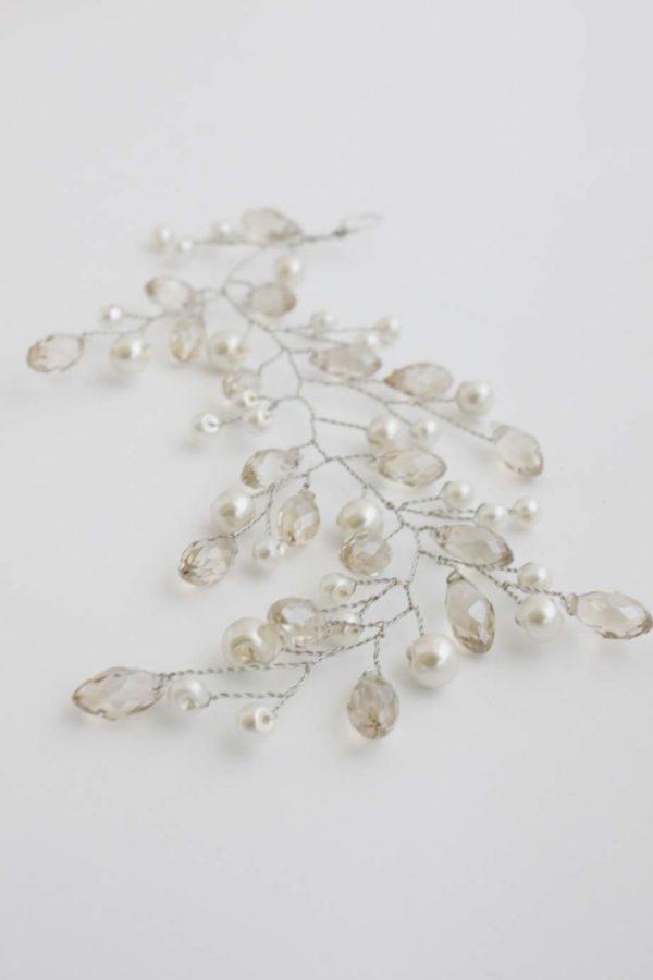 gałązka wpinka do włosów ślubna z kryształkami