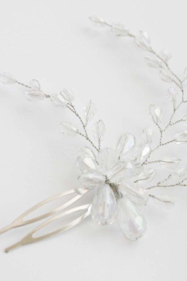 grzebyk ślubny z kryształkami do włosów