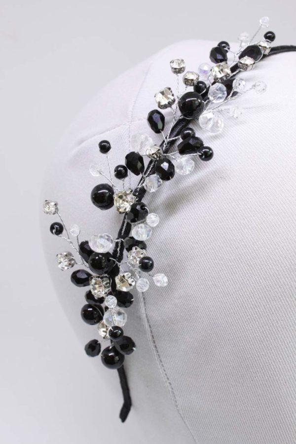 stroik galązka czarna i srebrna ozdoba do włosów