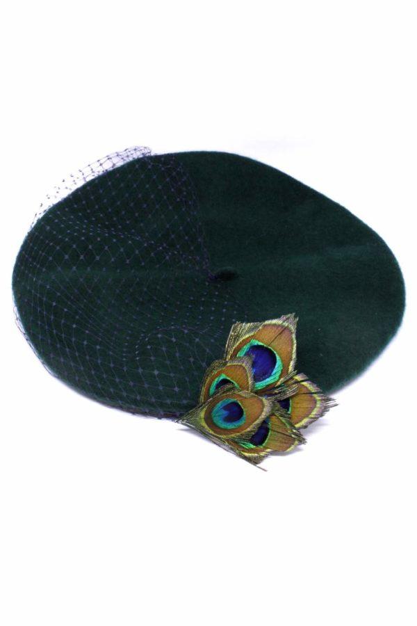 Beret z antenką damski zielony z woalką