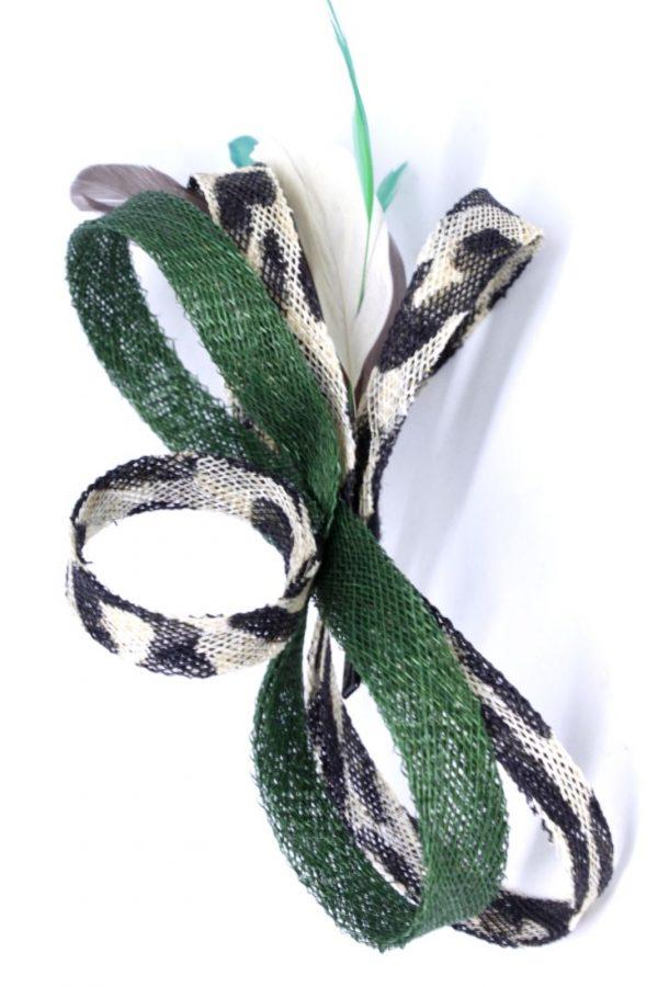 ozdoba z panterką i zielenią fascynator splot