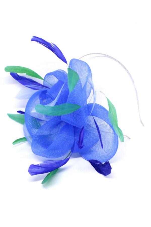 Opaska z kwiatem niebieskim z piórami krynolina fascynator