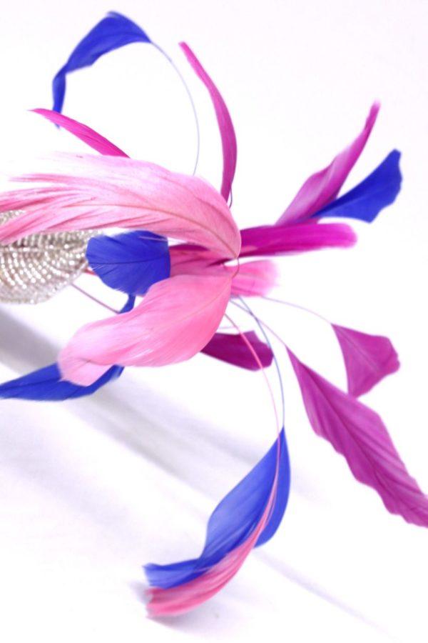 spinka z piórami w stylu retro fascynator