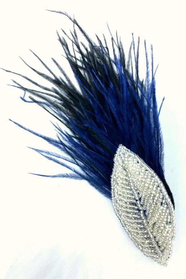 Spinka retro z piórkami strusia listek