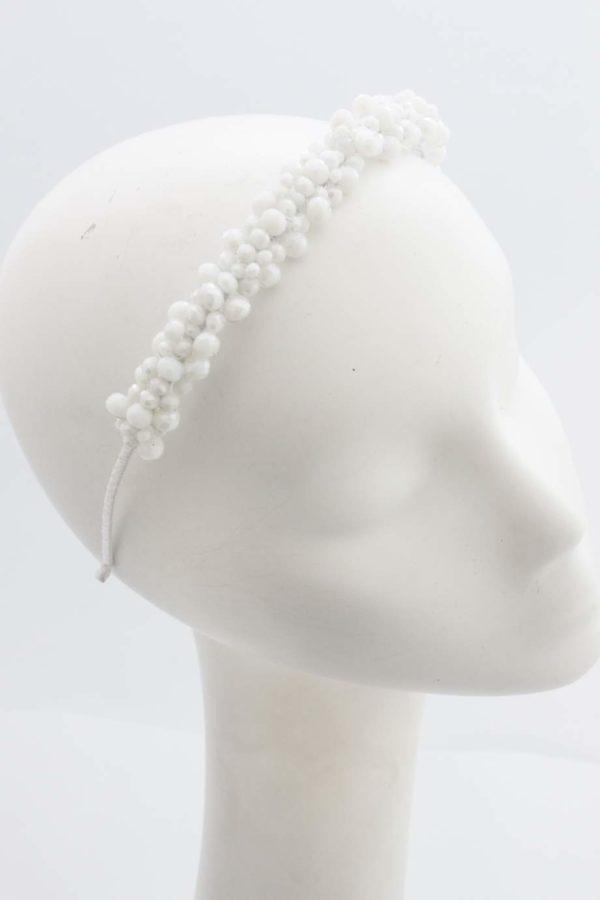 ozdoba opaska do włosów ślubna biała z kryształków