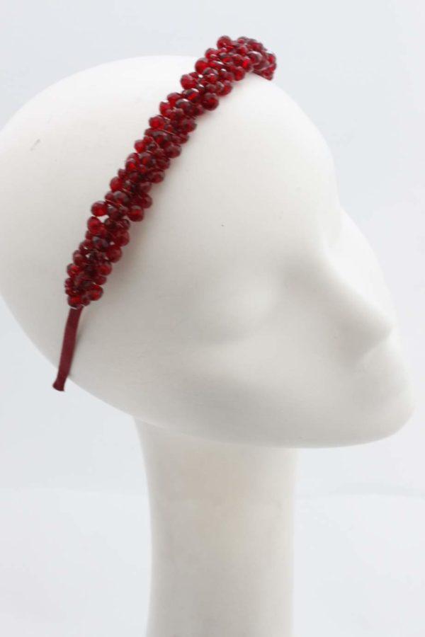 opaska do włosów czerowna z kryształków handmade
