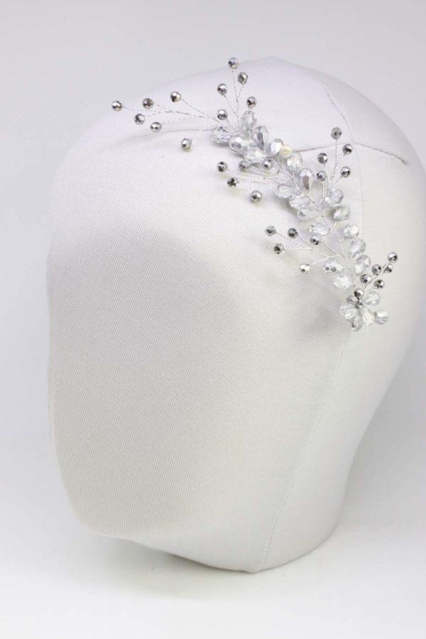 wpinka ślubna do włosów w kolorze srebrnym