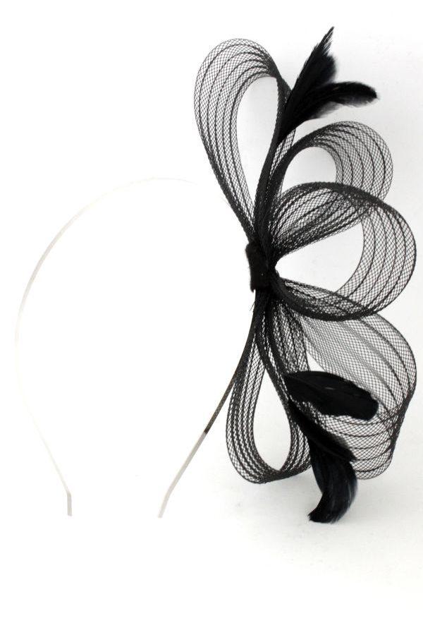czarna kokarda do włosów siri