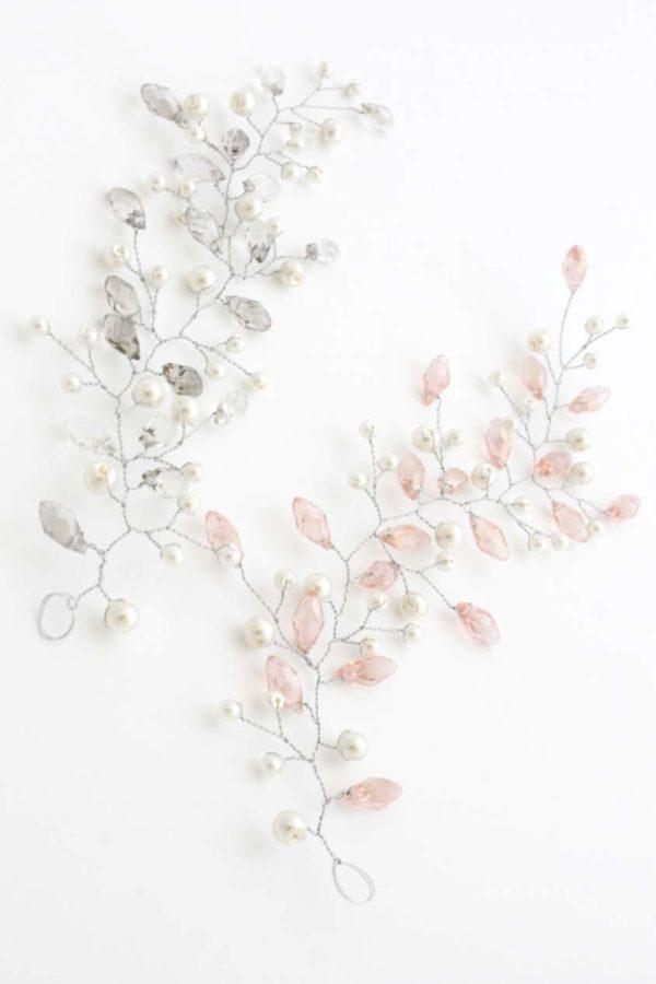 plecionka gałązka ślubna jasny róż srebro