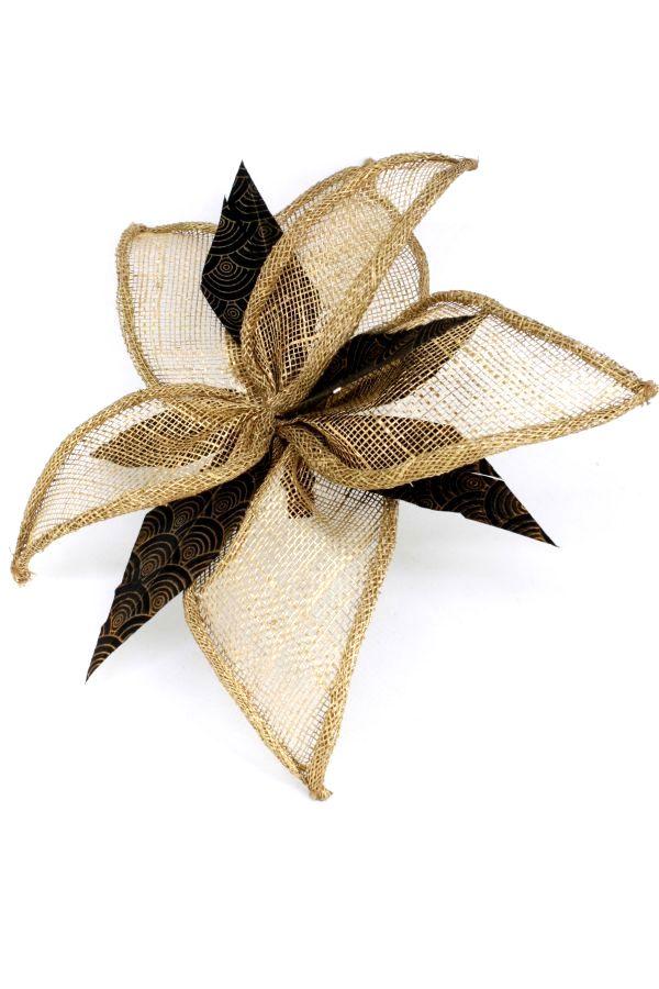 north star kwiat złoto czarny sinamay pióra